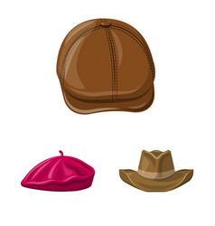 isolated object of headgear and cap symbol set of vector image