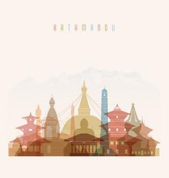 Kathmandu skyline detailed silhouette vector