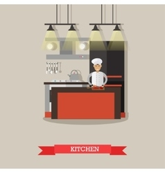 Kitchen interior in restaurant poster vector image