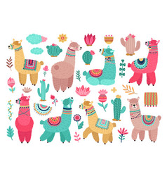 llama with cactus cute alpaca ballamas flower vector image