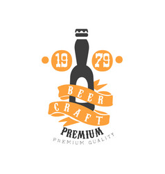 Logo template with bottle of craft beer vector