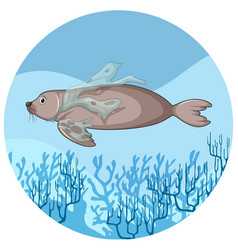 manatee and plastic bags underwater vector image