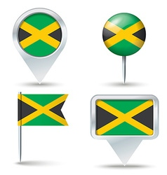 Map pins with flag of Jamaica vector image