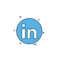 media network social linkedin icon design vector image