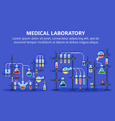 Medical laboratory equipment with glass flask vector
