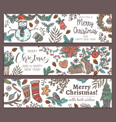 merry christmas happy new year horizontal banners vector image