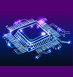 Microchip processor glowing doodle vector