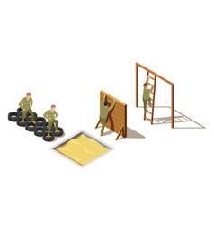 Military recruit training isometric composition vector
