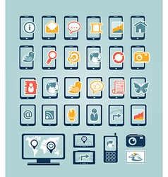 Mobile device icons vector image