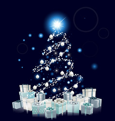 Modern style blue christmas tree vector