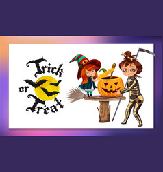 mom and daughter in halloween costumes poster vector image