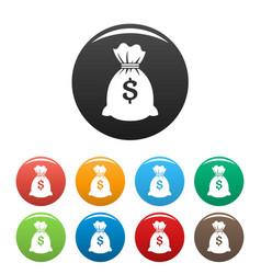 money bag icons set color vector image