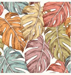 Monstera leaves hand drawn retro seamless pattern vector