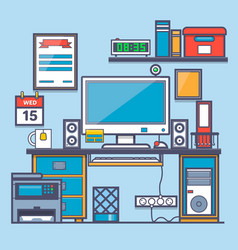 Office interioroffice desk and accessorythin vector