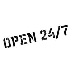 Open 24 7 stamp vector