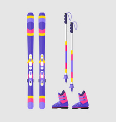 Pairs of skis boots and poles flat style vector