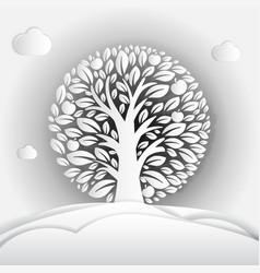paper art apple tree in circle design vector image