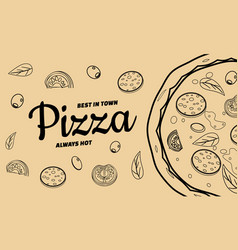 Pizza food menu for restaurant and cafe design in vector