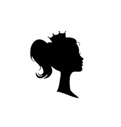 Princess or queen profile silhouette with crown vector