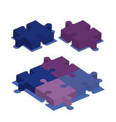 Puzzle pieces isometrics icons vector