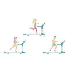 run women and man on a treadmill vector image