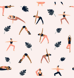 seamless pattern with characters in yoga asanas vector image