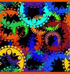 seamless texture of bright green and blue gears vector image