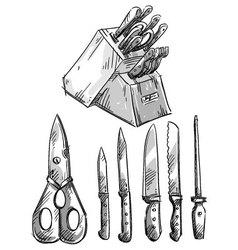 set knives vector image