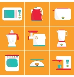 Set of flat kitchen appliances vector image