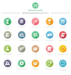 Set of Round Long Shadow SEO and Development icons vector image