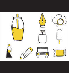 Set varied equipment doodle icons vector