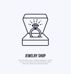 Shining brilliant ring in gift box vector