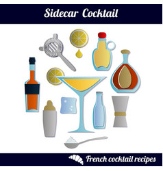 sidecar cocktail set isolated elements vector image