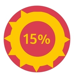 Sign download 15 percent icon flat style vector