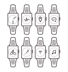 smart watch icons outline isolated set vector image