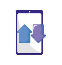 smartphone financial arrow download and upload vector image
