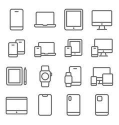 smartphone mobile device icons set vector image