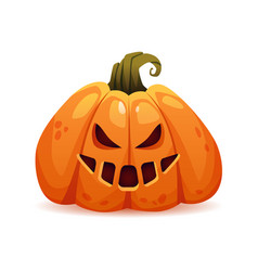 Spooky and scary evil halloween pumpkin character vector