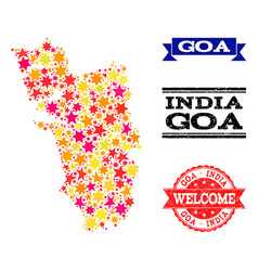 Star mosaic map of goa state and rubber watermarks vector