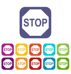 stop sign icons set vector image