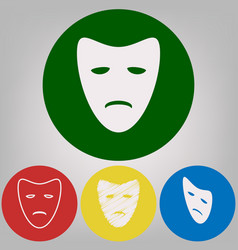 Tragedy theatrical masks 4 white styles vector