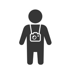 travel tourist with photo camera icon vector image
