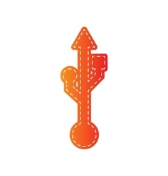 USB sign Orange applique isolated vector