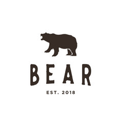 vintage bear logo design inspiration in brown vector image