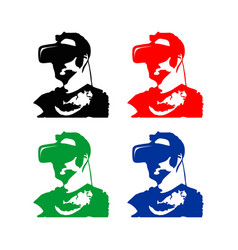 virtual reality man silhouete vector image