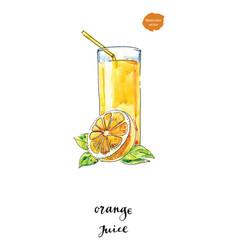 Watercolor glass of summer orange juice vector