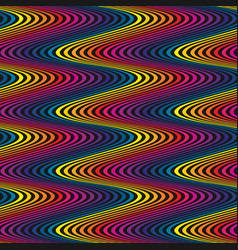 Wavy seamless pattern rainbow curved lines vector