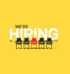 We are hiring concept design with chair hand vector