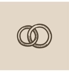 Wedding rings sketch icon vector image