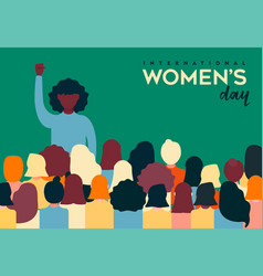 womens day card of diverse women group vector image